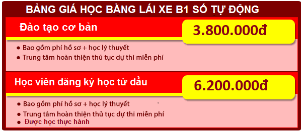 bảng giá học lái xe ô tô hạng b1 số tự động